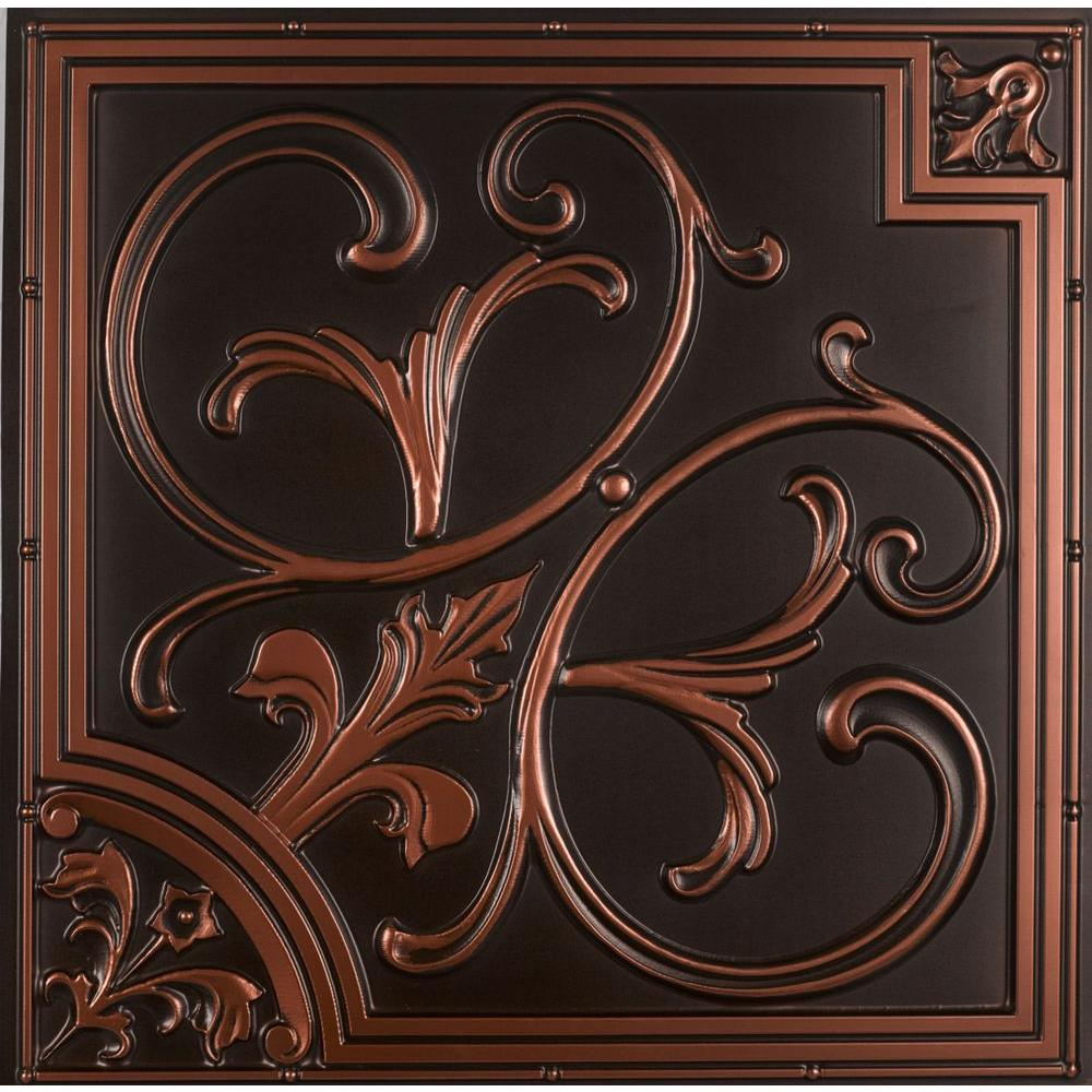 From Plain To Beautiful In Hours Lilies and Swirls 2 ft. x 2 ft. PVC Lay-in or Glue-up Ceiling Tile in Antique Copper (100 sq. ft. / case)