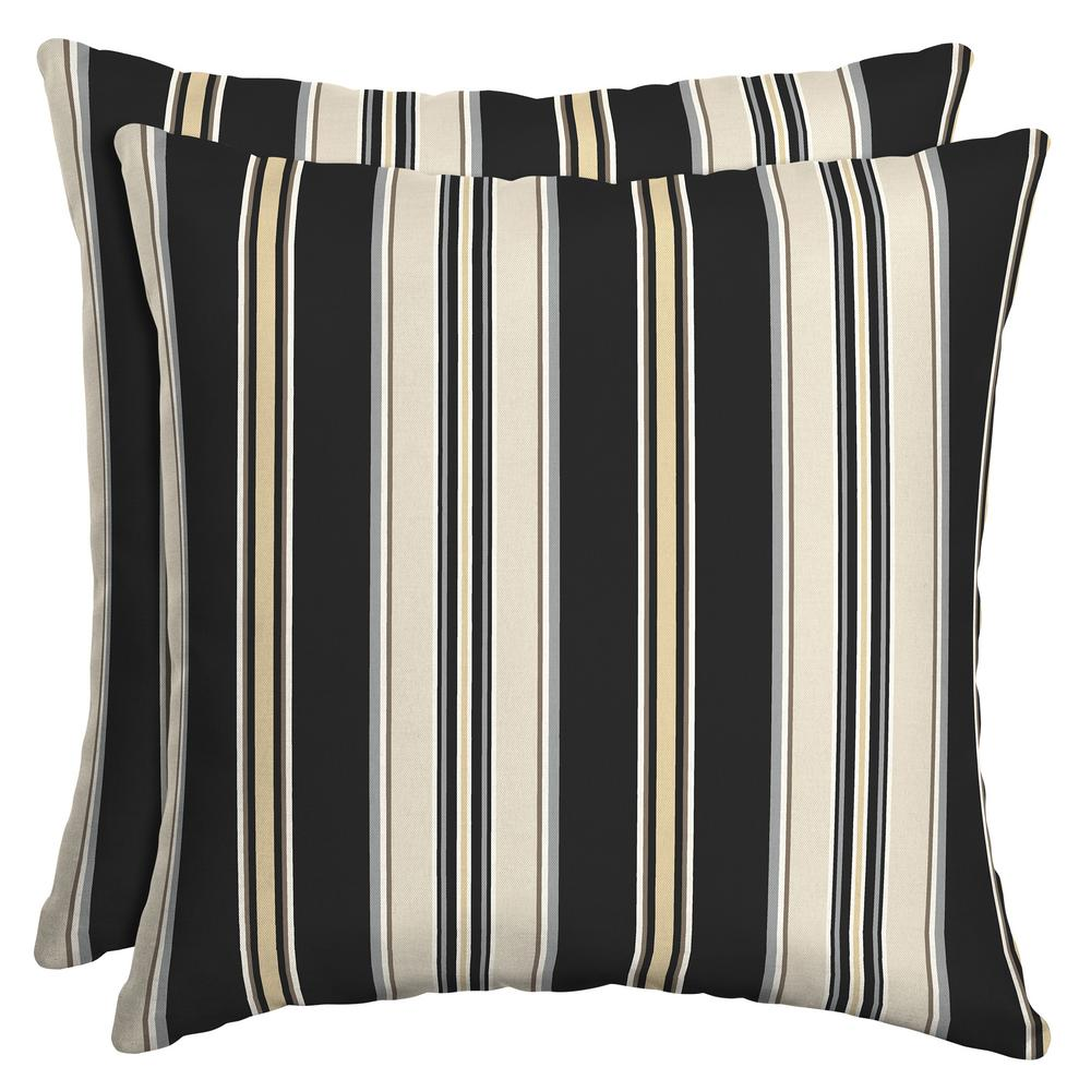 Black Stripe Square Outdoor Throw Pillow (2-Pack)