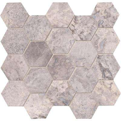 Silver Travertine Hexagon 12 in. x 12 in. x 10 mm Honed Travertine Mesh-Mounted Mosaic Tile (10 sq. ft. / case)