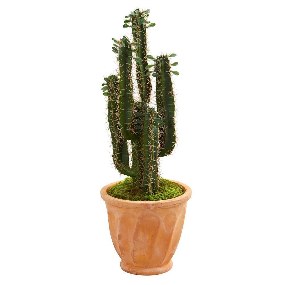 Indoor 3 ft. Cactus Artificial Plant in Terra Cotta Planter