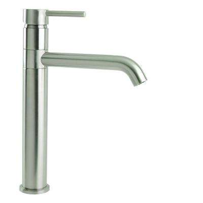 Single Hole Single-Handle Swivel Arm Euro Vessel Bathroom Faucet in Brushed Nickel