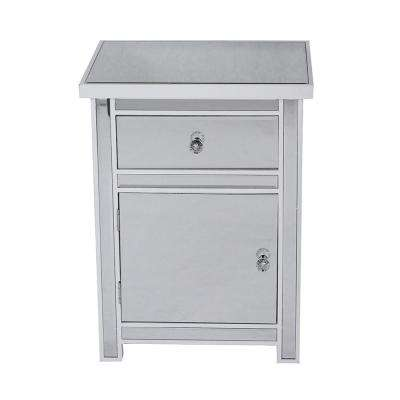 Shelly Assembled 19.29 in. x 19.29 in. x 15.75 in. Antique White Wood Accent Storage Cabinet with Glass Drawer