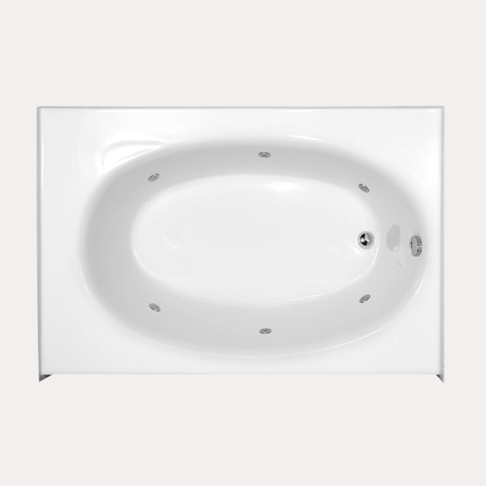 Kona 5 ft. Right Drain Whirlpool Tub in White