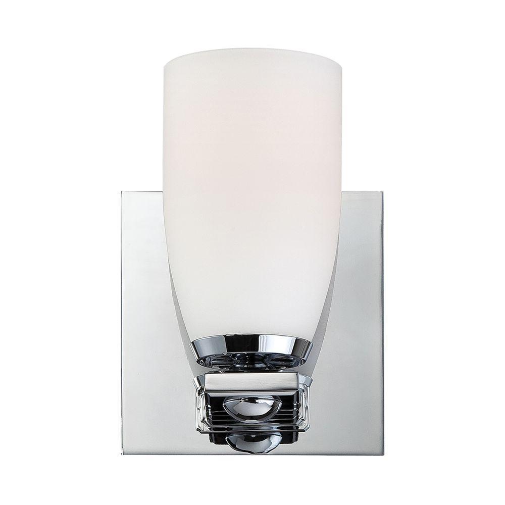 Titan Lighting Sphere 1-Light Chrome Vanity Light with White Opal ...
