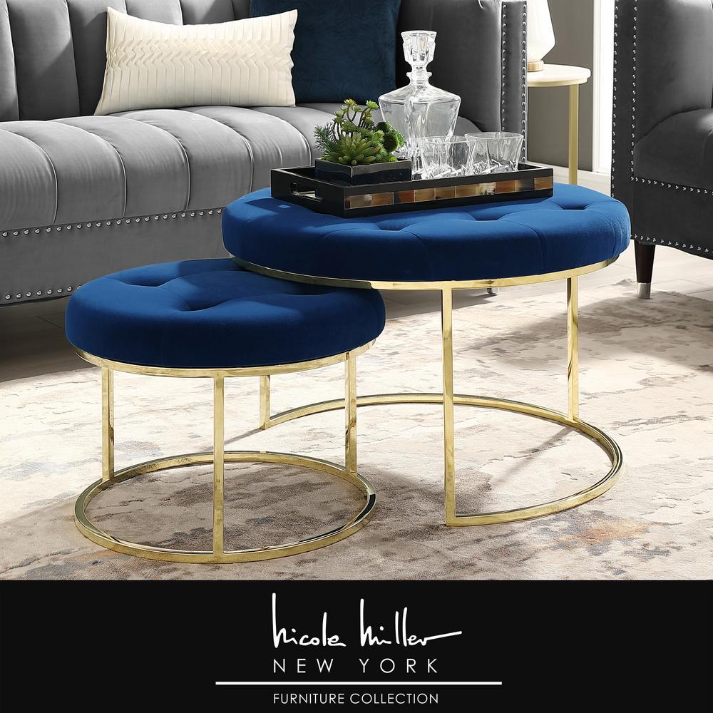 Surprising Nicole Miller Draven Nesting Ottoman Navy Gold Velvet Button Customarchery Wood Chair Design Ideas Customarcherynet