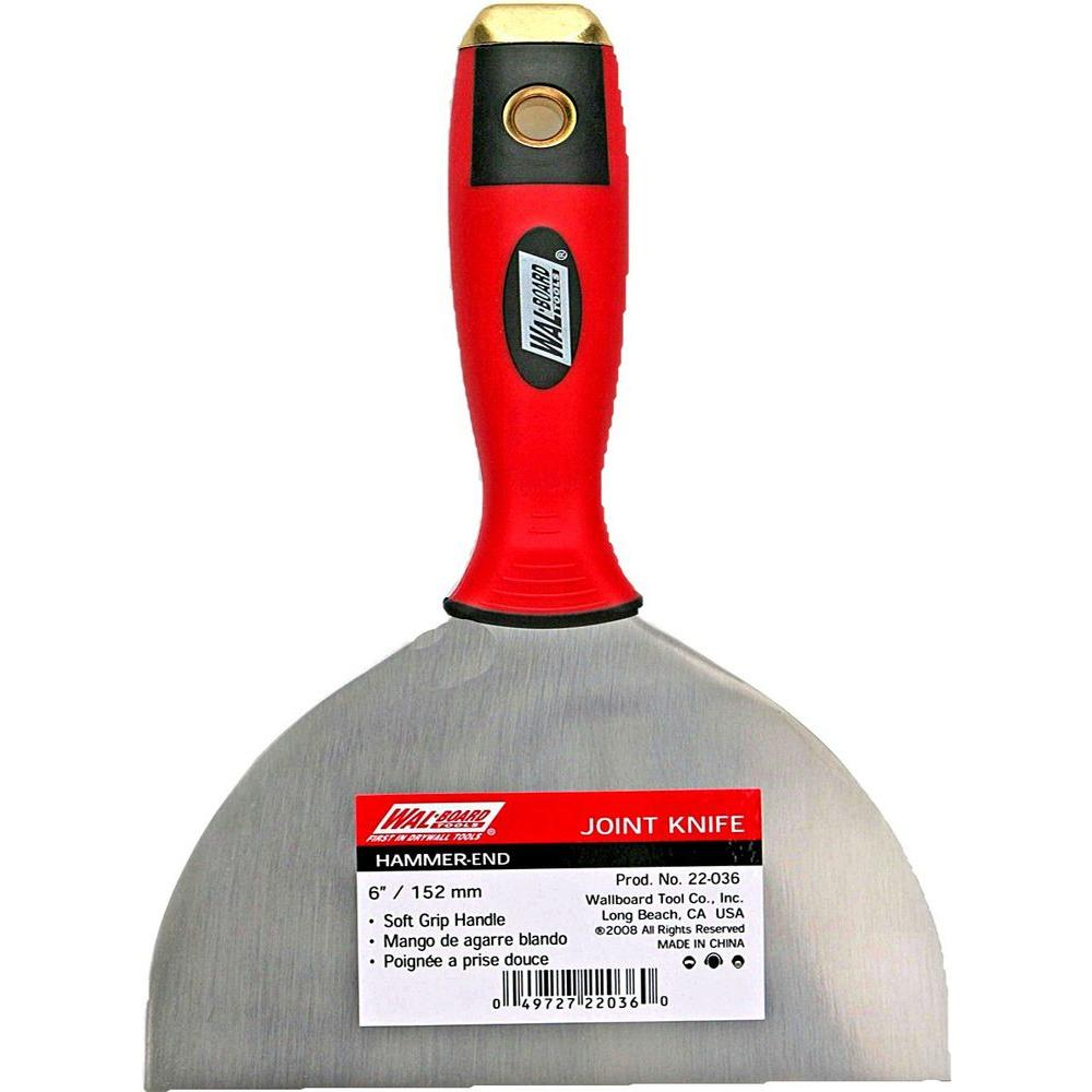 Wal-Board Tools 6 in. Hammer-End Joint Knife with Rubber Soft-Grip