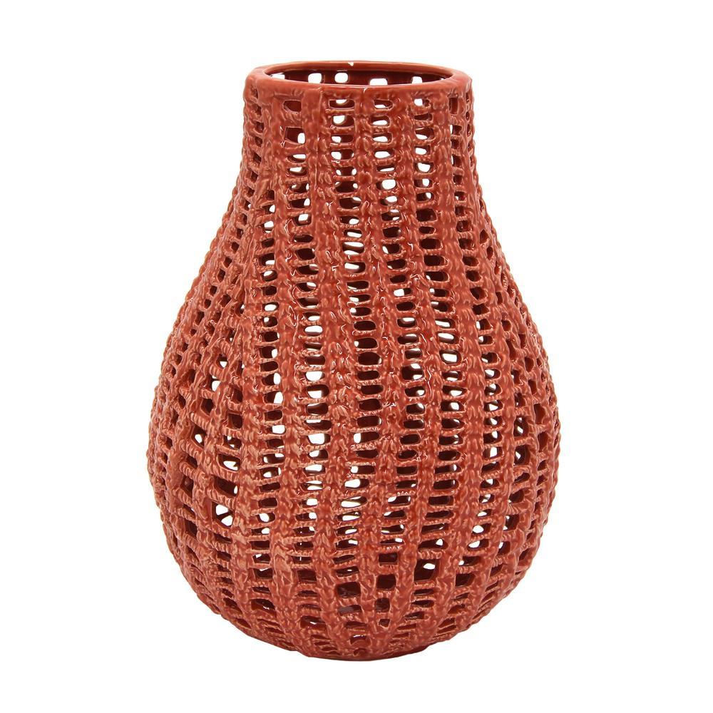 Red Ceramic Pierced Decorative Vase