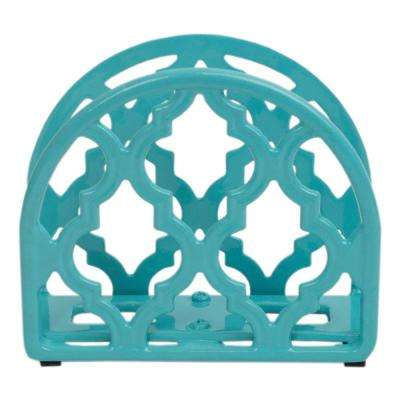 Cast Iron Lattice Turquoise Napkin Holder