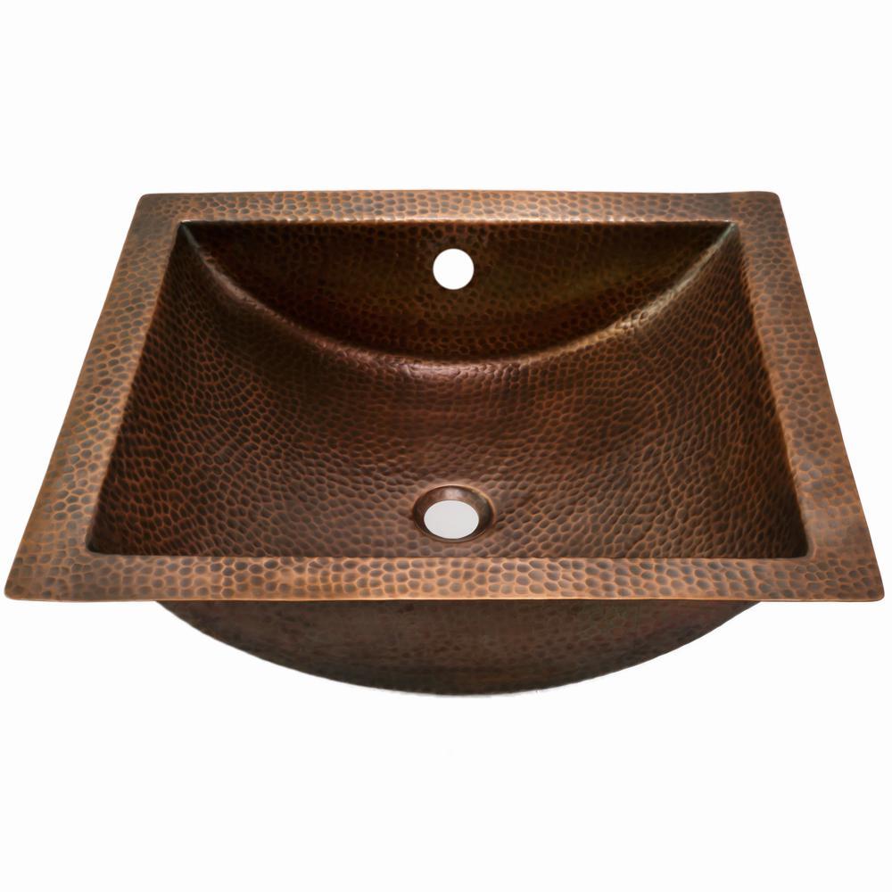 Hammerwerks Series 20.5 in. Undermount Copper Concave Bathroom Sink in Antique Copper