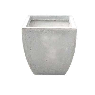 15 in. Tall Natural Lightweight Concrete Modern Flared Square Planter