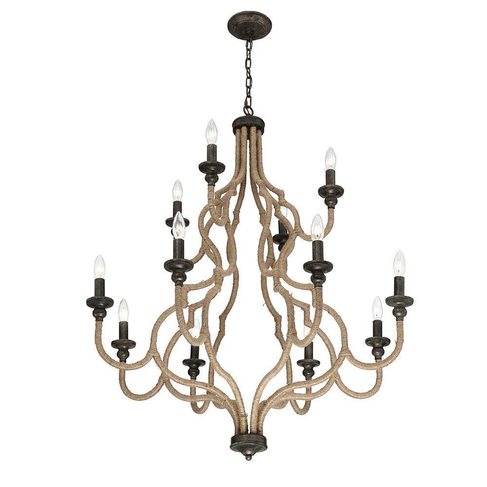 Corda Collection 12-Light Bronze Chandelier