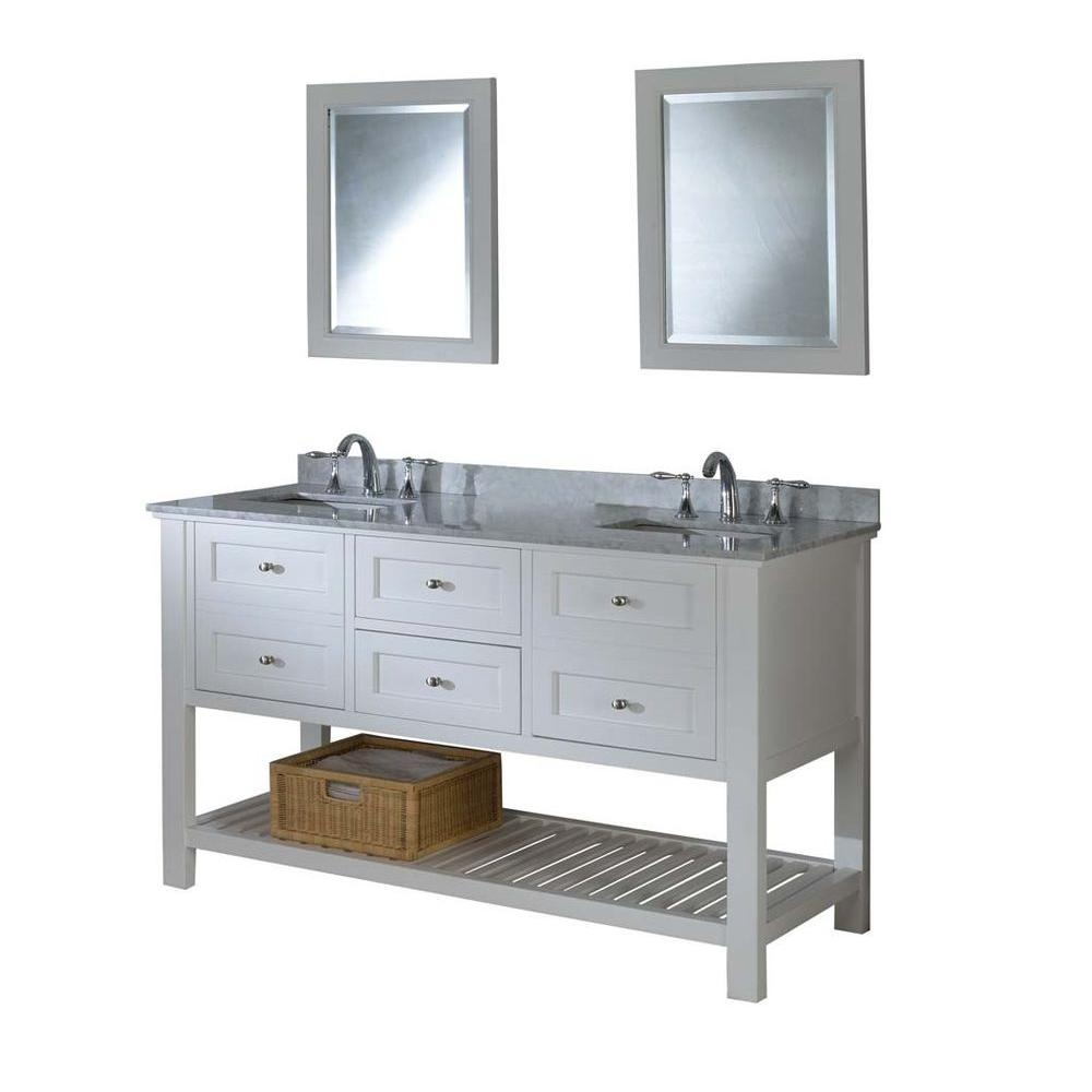 Direct Vanity Sink Mission Spa 60 In Double Pearl White With Marble