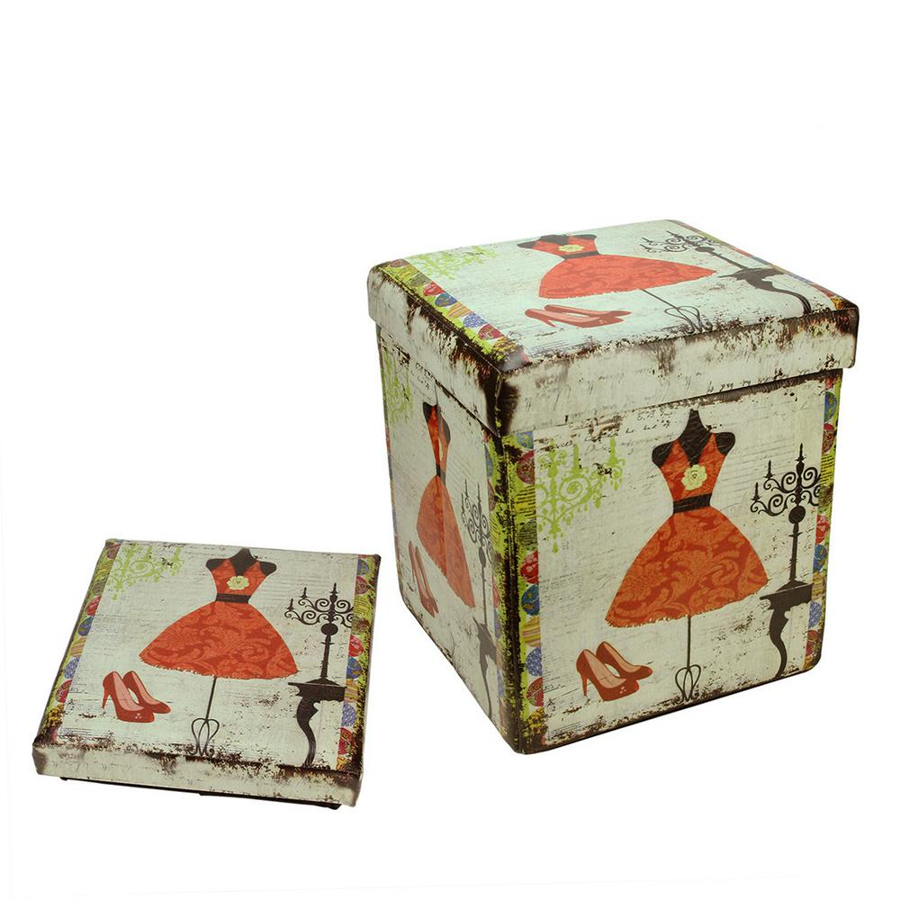 15 in. Decorative Vintage Dress and Fashion Collapsible Wooden Storage Ottoman