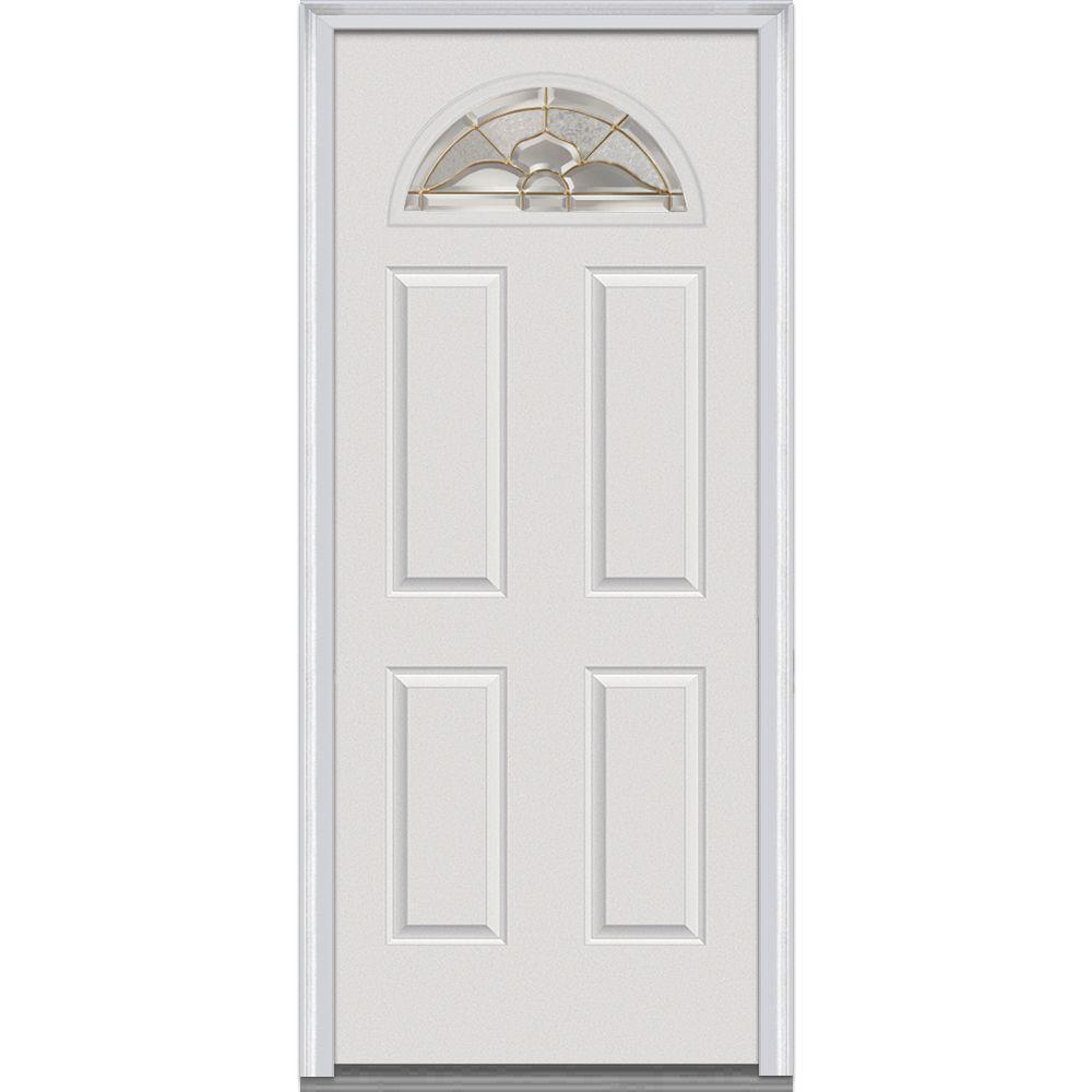 Mmi Door 30 In X 80 In Master Nouveau Right Hand 1 4 Lite 4 Panel Classic Primed Fiberglass