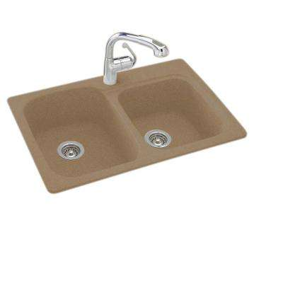 Drop-In/Undermount Solid Surface 33 in. 1-Hole 55/45 Double Bowl Kitchen Sink in Barley