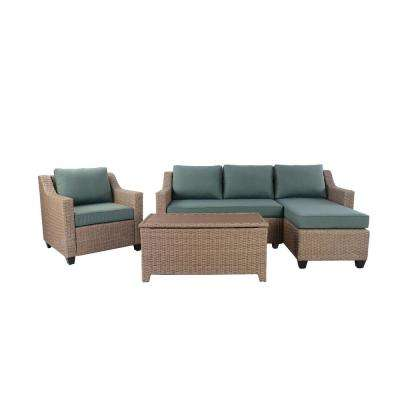 Amber Grove Brown 4-Piece Wicker Outdoor Sectional Set with Cushion Guard Surplus Cushions