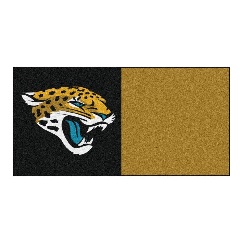 NFL - Jacksonville Jaguars Black and Gold Nylon 18 in. x 18 in. Carpet Tile (20 Tiles/Case)