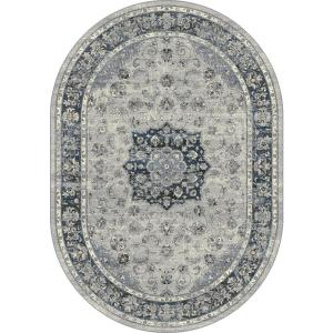 Dynamic Rugs Ancient Garden Silver/Blue 5 ft. 3 inch x 7 ft. 7 inch Oval Indoor Area Rug by Dynamic Rugs