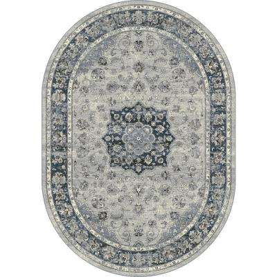 Ancient Garden Silver/Blue 5 ft. x 8 ft. Oval Indoor Area Rug
