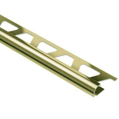 Rondec Polished Brass Anodized Aluminum 3/8 in. x 8 ft. 2-1/2 in. Metal Bullnose Tile Edging Trim