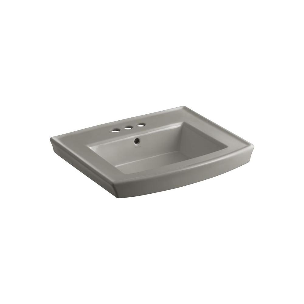 Archer 4 in. Vitreous China Pedestal Sink Basin in Cashmere with