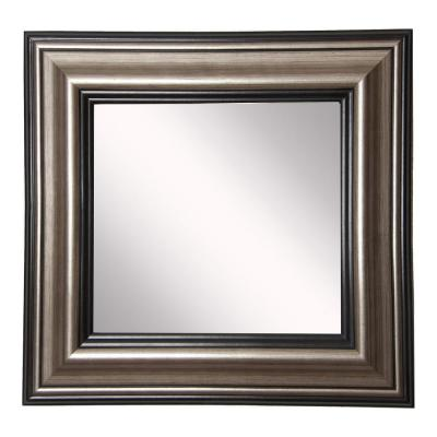 34 in. W x 34 in. H Framed Square Bathroom Vanity Mirror in Silver