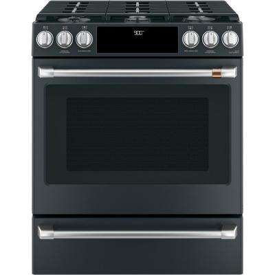 30 in. 5.7 cu. ft. Slide-In Dual Fuel Range with Steam-Cleaning Convection Oven in Matte Black, Fingerprint Resistant