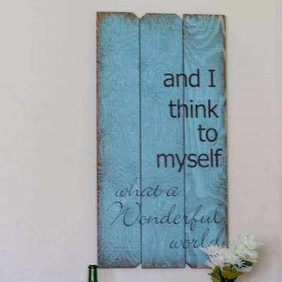 """18 in. x 36 in. """"Wonderful World"""" by Boulder Innovations Wood Wall Art"""