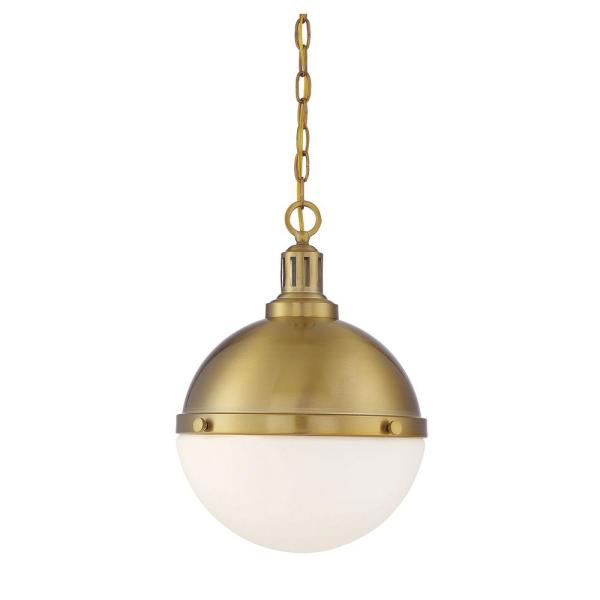 2-Light Warm Brass Pendant with White Opal Glass