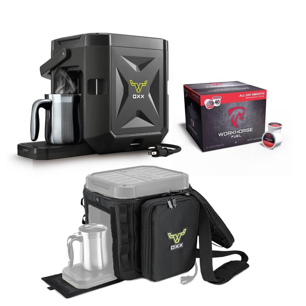 COFFEEBOXX Black Single Serve Coffee Maker with Accessory Kit