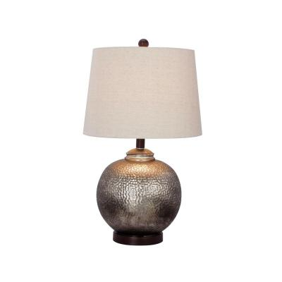 24 in. Antique Brown Mercury Glass and Oil-Rubbed Bronze Metal Table Lamp