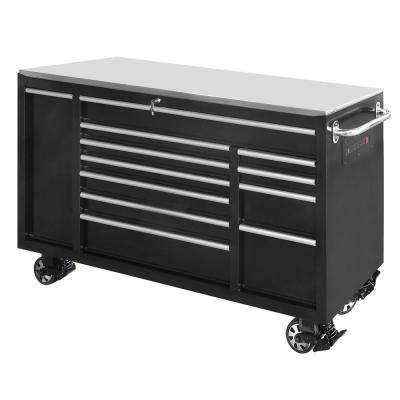 72 in. 12-Drawer Tool Chest Cabinet in Black