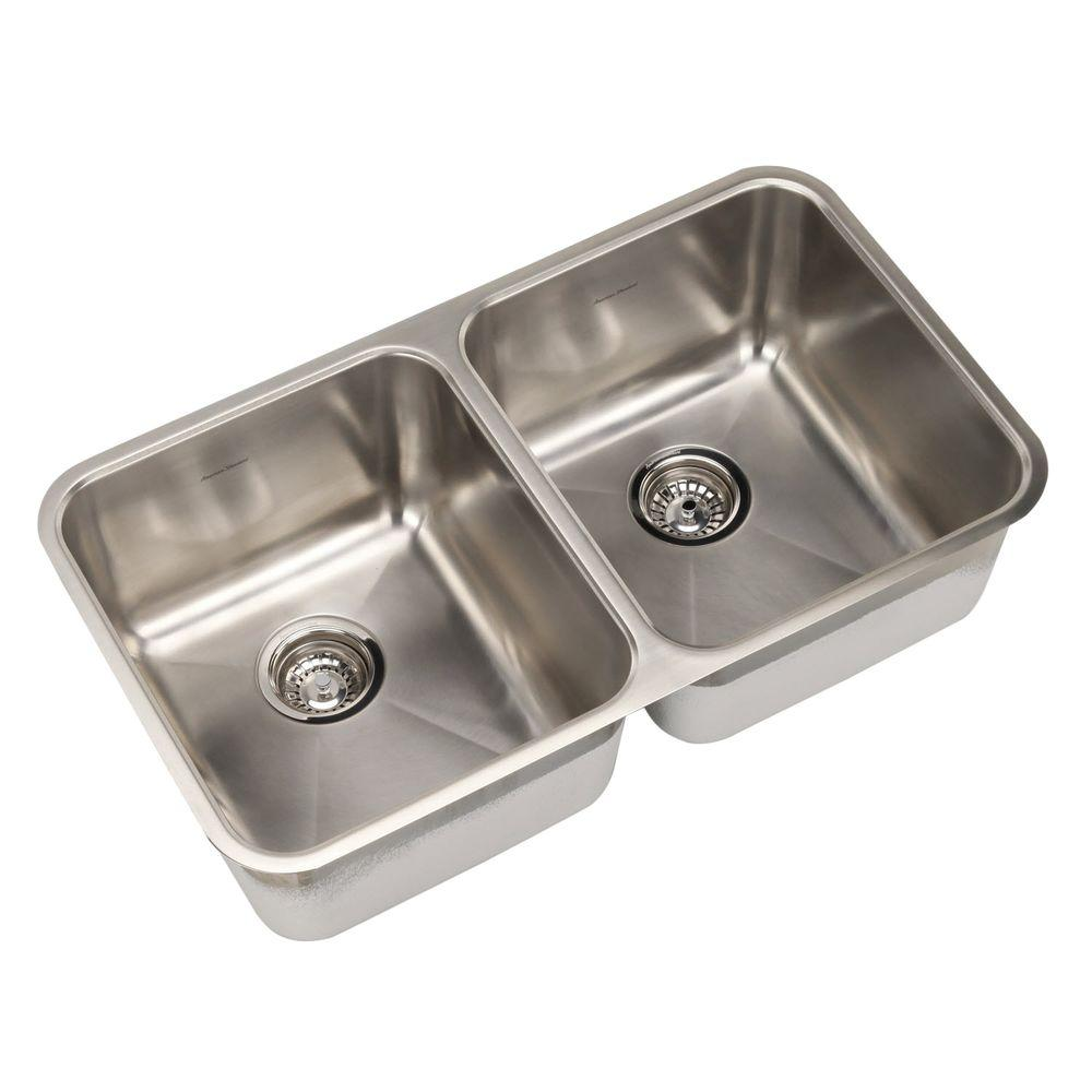 American Standard Prevoir Undermount Brushed Stainless Steel 31 In. 0 Hole  Double Basin Kitchen