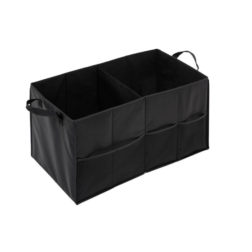 Honey-Can-Do 2-Compartment Black Folding Trunk Small Parts Organizer