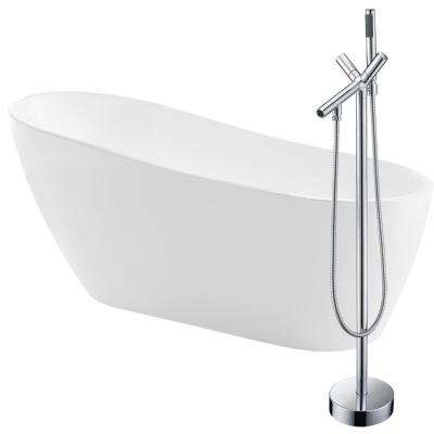 Trend 67 in. Acrylic Flatbottom Non-Whirlpool Bathtub in White with Havasu Faucet in Polished Chrome
