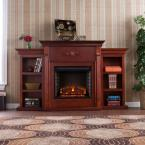 Jackson 70.25 in. Freestanding Media Electric Fireplace with Bookcases in Classic Mahogany