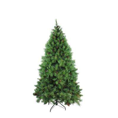 6.5 ft. x 50 in. Dakota Red Pine Full Artificial Christmas Tree with Pine Cones