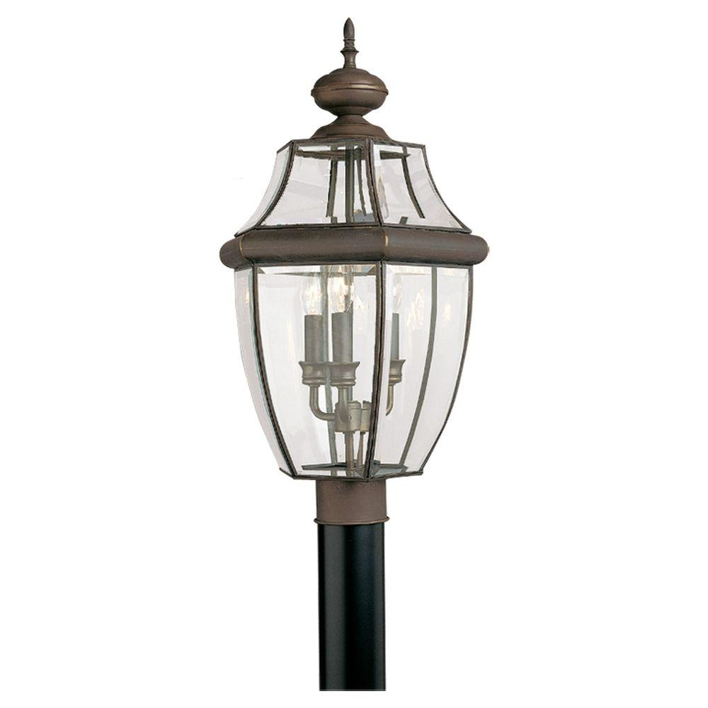 Sea Gull Lighting Lancaster 3-Light Outdoor Antique Bronze Post ...