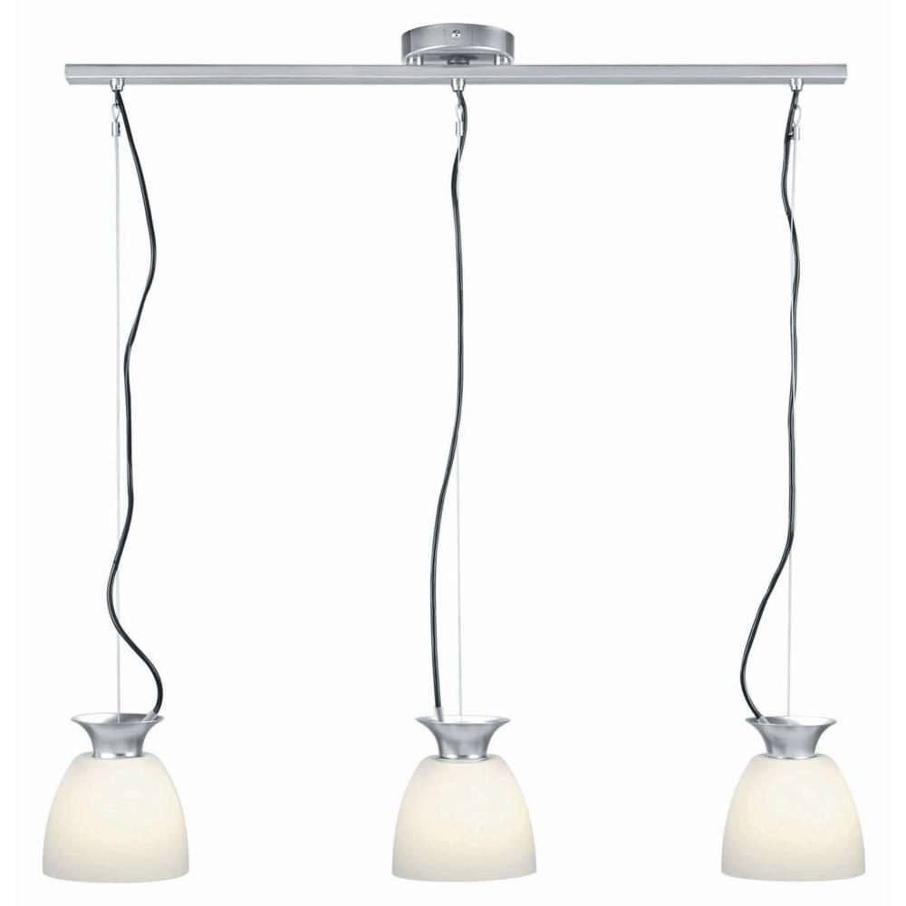 Illumine 3-Light Polished Steel Pendant with Frost Glass