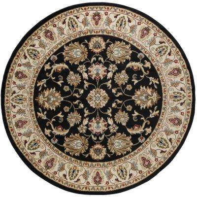 Hampton Traditional Black 8 Ft Round Area Rug