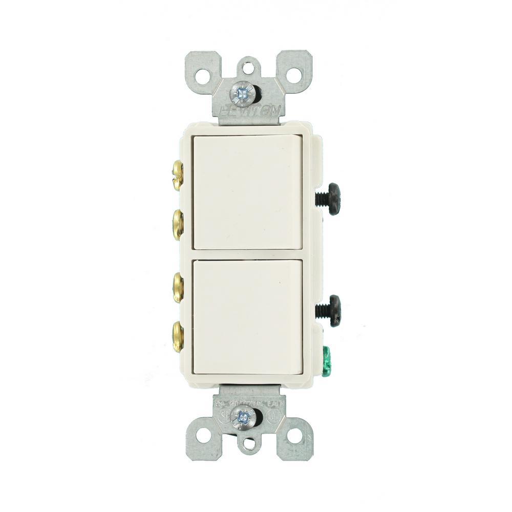 Decora 15 Amp 120-Volt 3-Way Combination Rocker Switch, White