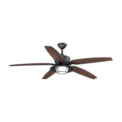 Montague Collection 60 in. LED Forged Black Indoor/Outdoor Ceiling Fan with Light Kit and Remote