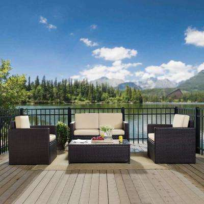Palm Harbor 4-Piece Wicker Outdoor Seating Set with Sand Cushions - Loveseat, 2 Chairs and Glass Top Table