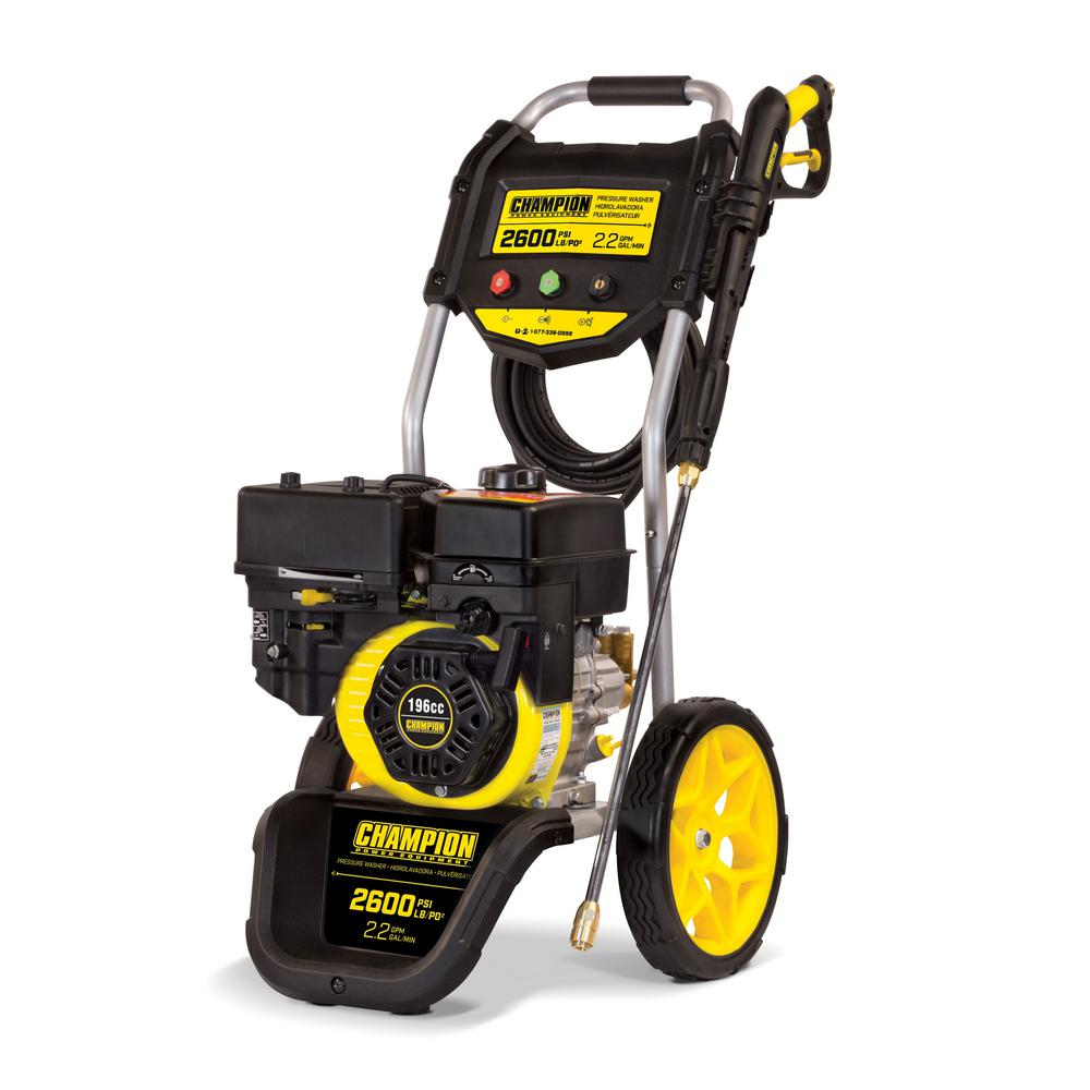 Champion Power Equipment 2600 psi 2 2 GPM Gas Powered Dolly Style Pressure  Washer