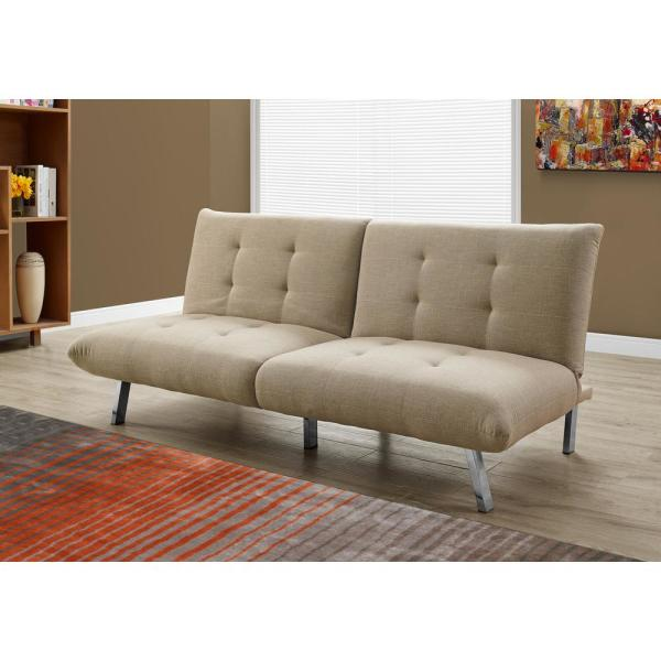 Taupe Futon With Split Back Convertible