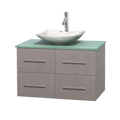 Centra 36 in. Vanity in Gray Oak with Glass Vanity Top in Green and Carrara Sink