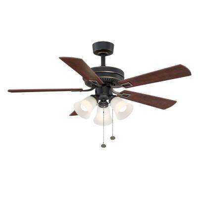 Sinclair 44 in. Indoor Tarnished Bronze Ceiling Fan with Light Kit