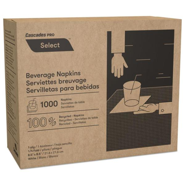 Select Beverage Napkins, 1 Ply, 8 1/2 in. x 8 1/2 in., White, 1000/Pack, 4 Packs/Carton