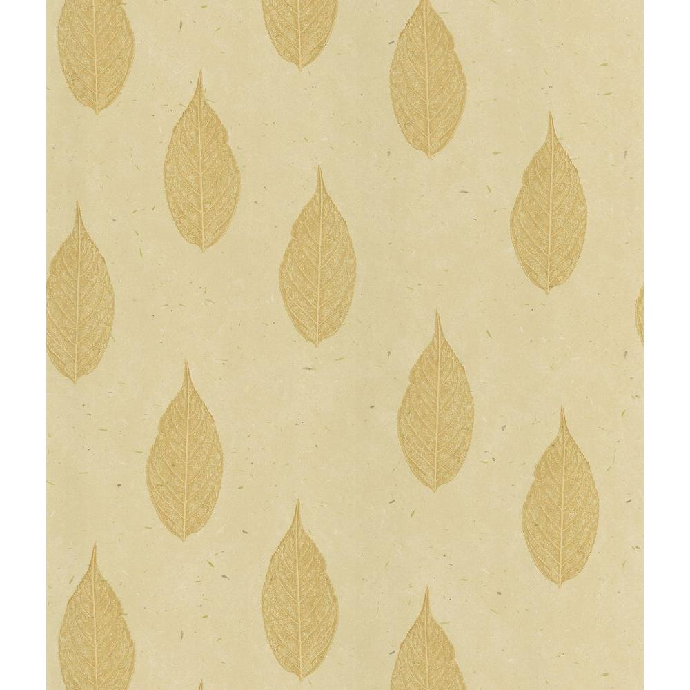 National Geographic Madhya Beige Leaf Toss Wallpaper Sample