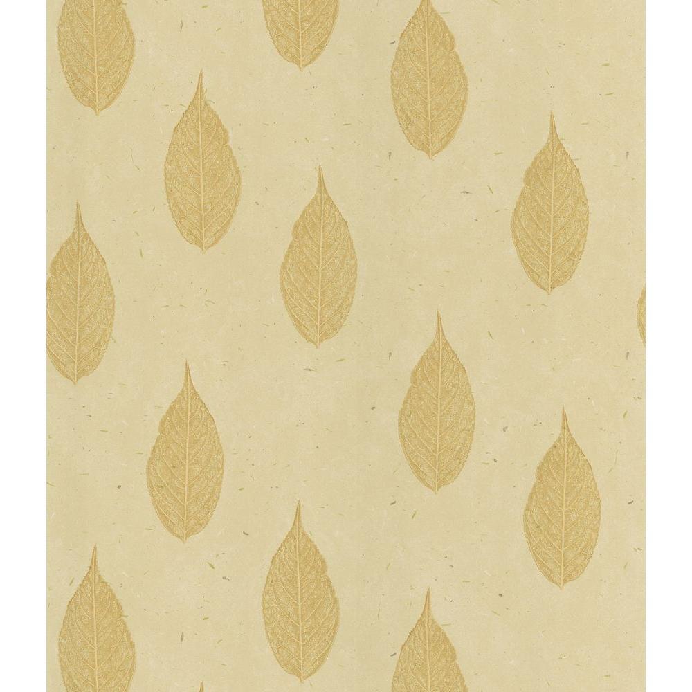 Madhya Beige Leaf Toss Wallpaper Sample